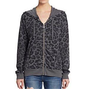Splendid Distressed Leopard Hoodie Sweatshirt Top